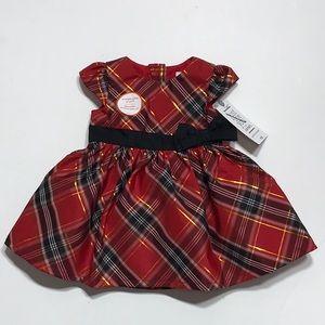 Newborn Baby Red Plaid Dress Fancy Girl NB